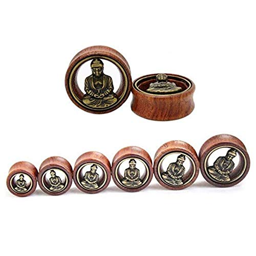 Flesh Tunnel Buddha Double Flared Ear Stretcher Saddle Plugs Gauge 8mm - 20mm (Brown, 12mm) by Acccity (Image #1)