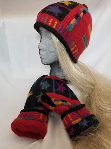 Hat & mitten set, icelandic design, wool sweater recycled, repurposed, beanie, red, black, blue, yellow, tassle, fleece lining, medium