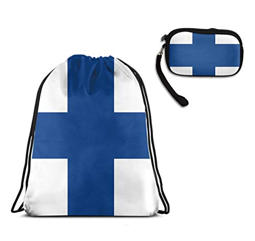 YongColer Drawstring Bag Backpack Sackpack Cinch Tote Bag & Purse Wallet Cellphone Cosmetic Pouch for Travel Picnic Gym Sport Beach 2 Pieces Set (Blue Cross White Finland Suomi Flag)