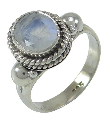 Banithani 925 Argent Pur Cadeau Bande De Mode Anneau Magnifique Pierre De Lune De Bijoux Pour Elle