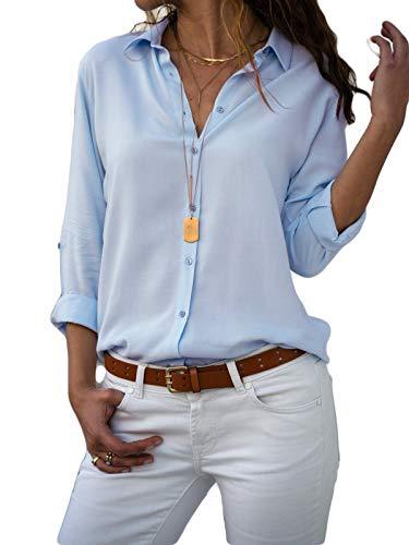 light blue button blouse - 9
