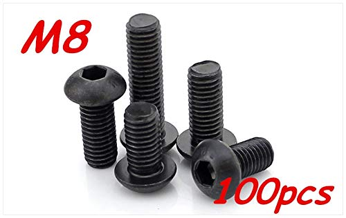 Ochoos 100pcs/Lot Metric Thread M810/12/16/20/25/30/35/40/45/50mm 10.9 Grace Black Button Head Hex Socket Cap Screws Bolts - (Dimensions: M8x30)