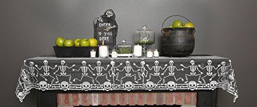 Heritage Lace Halloween Skeleton Dance Mantle Runner with Skulls and Bones, 20x80