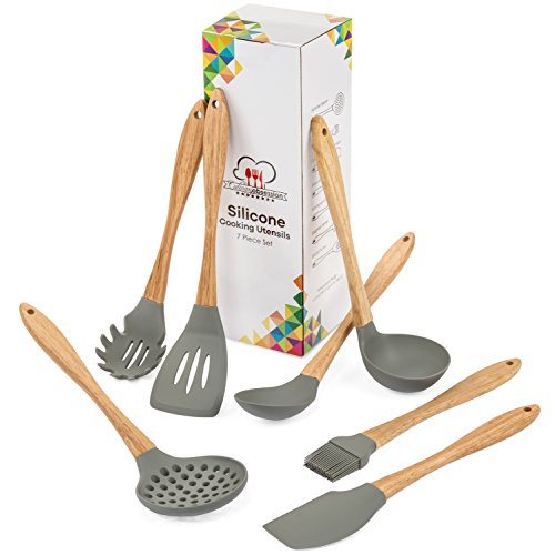 Silicone Cooking Utensils - 7 Piece Kitchen Utensil Set with Natural Wooden Handles - Heat Resistant and Non Scratch, the Perfect Tools for Nonstick Cookware - Made from BPA Free Food Grade Silicone