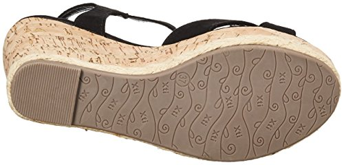 XTI Black Microfiber Ladies Sandals . - Plataforma Mujer Schwarz (Black)