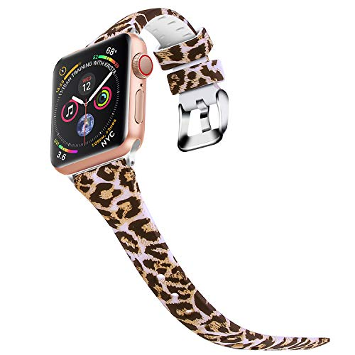 Bands for Apple Watch 42mm 44mm, JIELIELE Silicone Colorful Slim Women Wrist Strap Band iWatch Series 1, Series 2, Series 3, Series 4 Accessories - Leopard Color