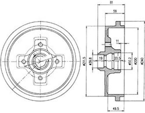 2X Delphi Bremstrommeln Set Hinten
