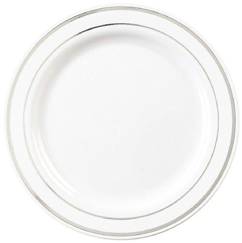 EMI Yoshi EMI-GWP6WS Glimmerware Plastic Dessert Plate, 6-Inch, White/Silver, 120 Per Case by EMI Yoshi