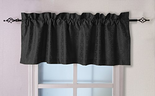 Valea Home 56-inch by 18-inch Jacquard Window Valance Rod Pocket Kitchen Curtain, Black