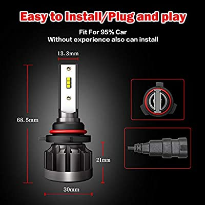 A-Partrix H1 LED Headlight Bulb 6000K 36W 8000 Lumens Xenon White Extremely Bright All-in-One Conversion Kit-2 Packs: Automotive