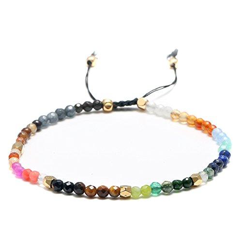 Glass Bead Stretch Bracelet - YBMYCM Rope Bead Bracelets Bright Bracelet - 100% Waterproof and Handmade w/Coated Charm Adjustable Band Statement Bracelet