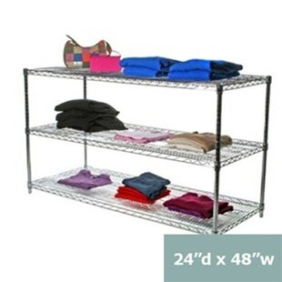 "Review 24""d x 48""w Chrome Wire Shelving with 3 Shelves By Shelving Inc by Shelving Inc"