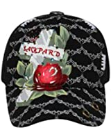 Printed Cross Metallic Rose with Rhinestones Mesh Back Hat Cap - Black/Gray
