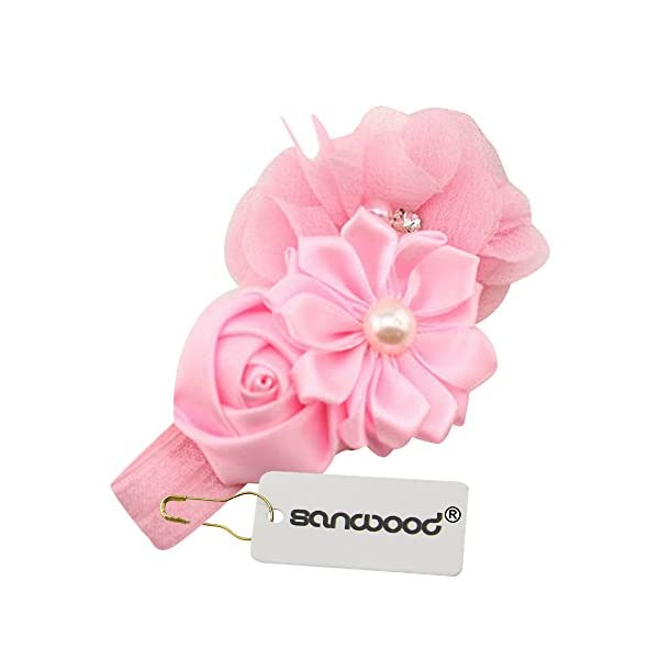 Sanwood Baby Girl Headband Infant Chiffon Headdress Faux Pearl Hairband