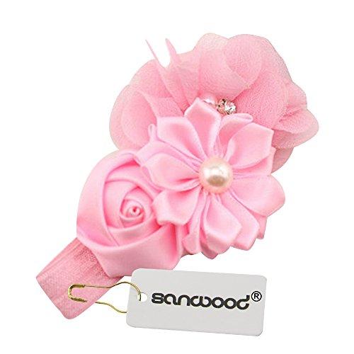 Sanwood® Baby Girl Headband Infant Chiffon Headdress Faux Pearl Hairband