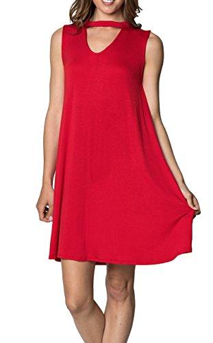 Velucci Swing Dress for Women - Womens Tunic Sleeveless Tank Summer Dresses (Red-M)