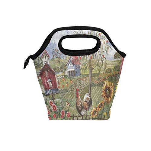 Florence Blue Rooster Farm Cooler Warm Pouch Lunch Bags Lunchbox For School Work Portable Meal Handbags Food Container Tote For Picnic