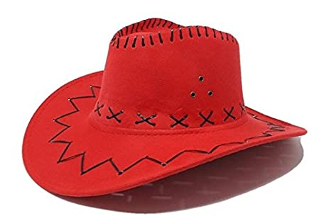 R F srls CAPPELLO COWBOY ROSSO COWGIRL SCAMOSCIATO FESTA PARTY COUNTRY  WESTERN 3fe4516a5bc7