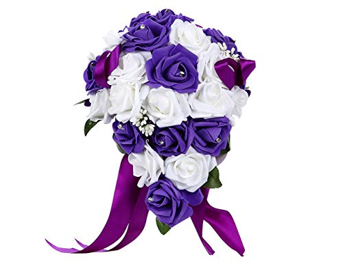 (Bodarind Artificial Wedding Bouquet Casading Rose Flowers with Rhinestone for Bride and Bridesmaid,Waterfall Flowers Bunch for Decorations)