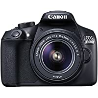 "Canon EOS 1300D - Kit con objetivo EF-S 18-55 mm f/3.5-5.6 IS II y cámara réflex de 18 Mp (pantalla de 3"", Full HD, 18-55 mm, f/1.5-5.6, NFC, WiFi), Negro"