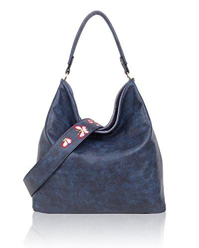 SwankySwans - Daria Velvet Reversible Bag, Borse a spalla Donna Grigio (Dark Grey)