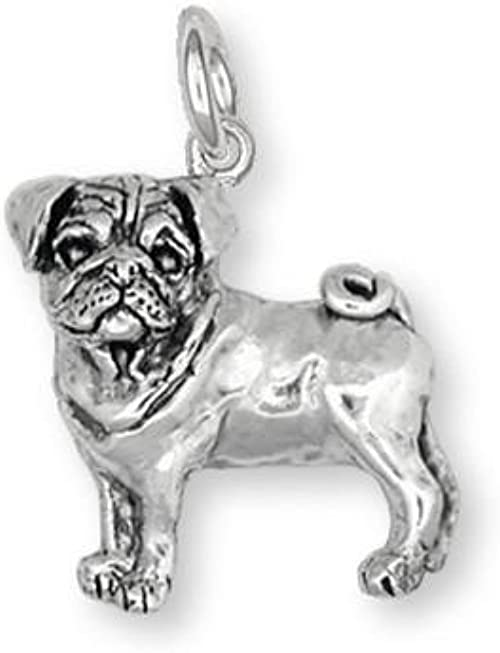 Pug Charm Jewelry Sterling Silver Handmade Dog Charm PG21-C
