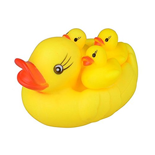 [Zeltababy Cute Duck Family Floating Bath Toys, 4 Set Squeaky Rubber Ducklings Baby Shower Toy] (Animal That Starts With The Letter N)