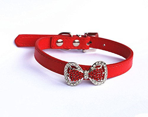 Rhinestone Party Collar - PetFavorites trade; Leather Rhinestone Bow Tie Pet Cat Dog Collar Necklace Jewelry For Small Dogs Girl Kitten Puppy Teacup Chihuahua Yorkie Clothes Costume Outfits (Neck Size: 8.7
