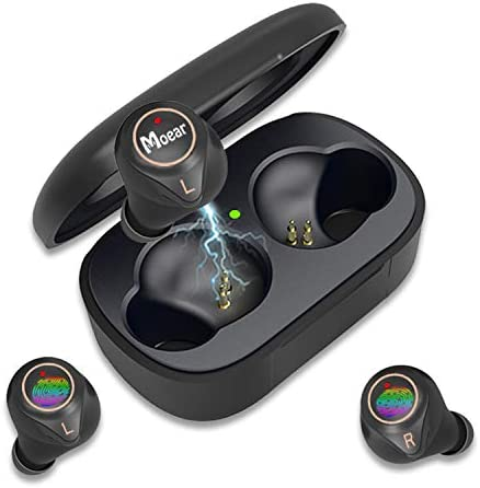 TWS Bluetooth Earbuds,Moear Bluetooth 5.0 Earphones True Wireless Earbuds with Charging Case,IPX5 Waterproof Sports in-Ear TWS HiFi Sound 7 Hours for Single Use