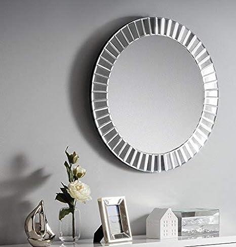 Julian Bowen MIR005 Sonata Round Wall Hanging Dress Mirror Bevelled Glass SIlver Hardwood