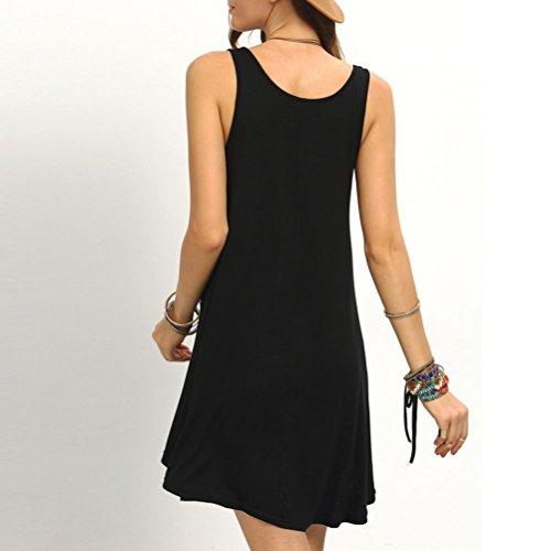 Vestido Para Mujer, Ouneed Vestido corto sin mangas de las mujeres mini Negro