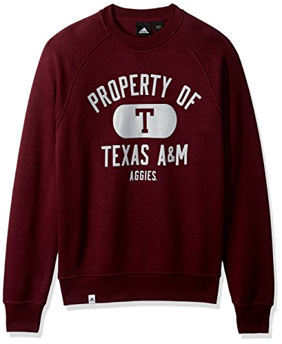 adidas NCAA Texas A&M Aggies Adult Men NCAA Property of Fleece Crew,Medium,Maroon (A&m Fleece Texas)