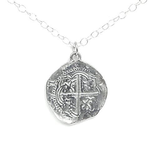 Bright Finished Pirate Pieces of Eight Coin Necklace - Shiny Pewter Replica of Spanish Coin - Handcrafted in USA