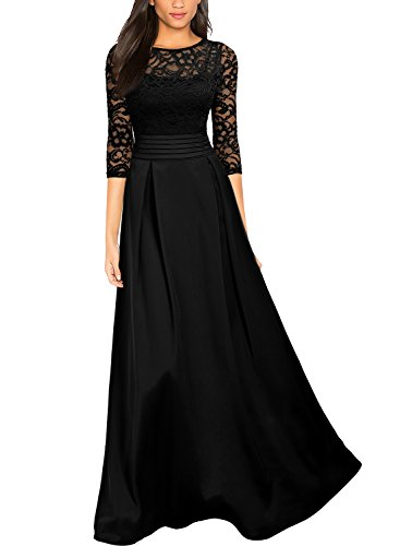 Miusol Women's Retro Floral Lace Halter Ruched Wedding Maxi Dress,Black,Medium ()