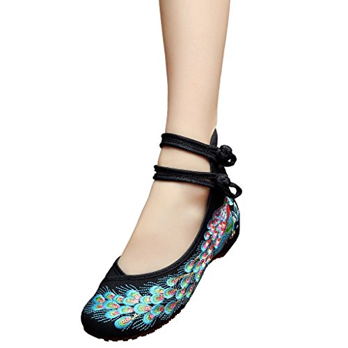 Women's Peacock Embroidery Spangly Beading Girls Platform Prom Dress Shoes Black EU 36 - US 6 (Dance Costumes From China)