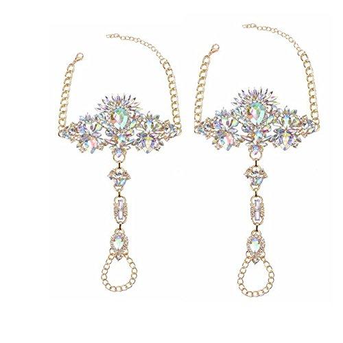 NABROJ Women Crystal Foot Jewelry, Anklet Bracelet Jewel Sandals Women Foot Chain 1 Pair Gift Box-JL01 Crystal by NABROJ