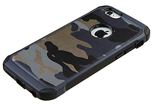 iPhone 6 case,iPhone 6s case Defender Shockproof Drop proof High Impact Armor Plastic and Leather TPU Hybrid Rugged Camouflage Case for Apple iPhone 6/6S - Camo Blue (4.7-inch)