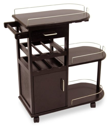 Winsome Wood Entertainment Cart, Espresso - Espresso Wine Cart