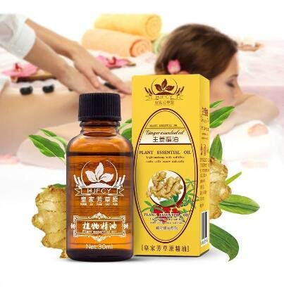 - Lymphatic Drainage Ginger Oil - 100% Natural Organic Ginger Root Lymphatic System Drainage Massage Spa Therapy - Essential Herbal Ginger Oils For Swollen Feet Skin Lymph Nodes Hair Growth Aromatherapy