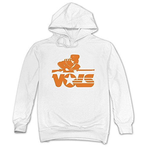 - SAVIS Men Tennessee Volunteers VOLS Logo SEC Hoodie White 100% Cotton