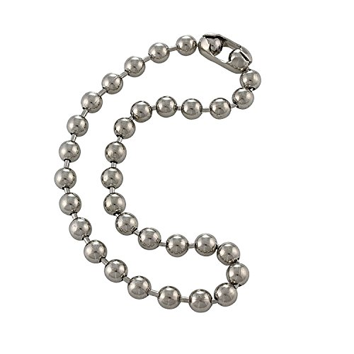 9.5mm Extra Large Silver Steel Ball Chain Mens Necklace with Extra Durable Color Protect Finish - 20 ()