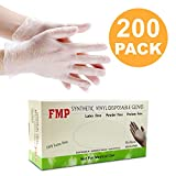 Disposable Vinyl Gloves, Non-Sterile, Powder Free, Smooth Touch, Food Service Grade, Medium Size [200 Pack]