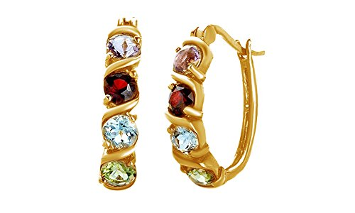 Simulated Multicolor Gemstone Hoop Earrings In 14k Yellow Gold Over Sterling Silver