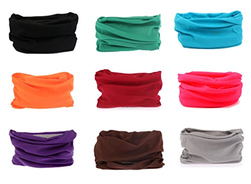 Kingree 9PCS Outdoor Magic Scarf for ATV/UTV riding, Seamless Bandanas Tube, High Elastic Headband with UV Resistance, (9 Solid Color (E))
