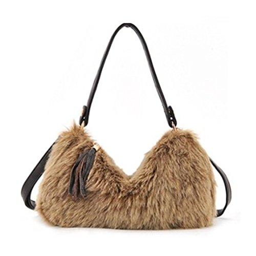 Caszel Women's Pure Color Faux Rabbit Fur Top Handle Evening Cocktail Party Handbag Clutch Shoulder Bag Cross-body Bag Hobo Tote Satchel for Winter - Rabbit Fur Purse Handbag