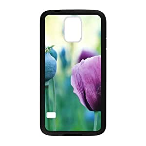 Beautiful poppy flower pattern,Colorful poppy art Custom Case for Samsung Galaxy S5 PC case cellphone cover black
