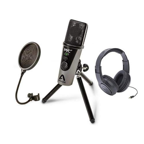 Apogee Electronics MiC Plus USB Cardioid Condenser Microphone for iOS, Mac & Windows - Bundle With Samson PS04 Pop Filter for Microphone, Samson SR350 Over-Ear Stereo Headphones (Stereo Mic Samson)