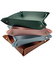 Hiili & Kaala Valet Trays 4 Pack Leather Catchall Tray for Key Coin Jewelry Wallet Personalized Utility Decorative Tray for Home Office Travel Coffee Bar