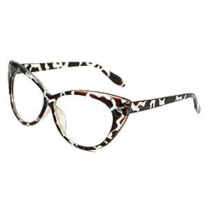 NEW MODEL 2018!!! Generic Retro Sexy Women Eyeglasses Frame Fashion Cat Eye Clear Lens ladies Eye Glasses (Leopard)