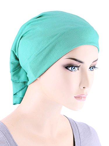 Womens Ruffle Chemo Hat Beanie Scarf, Turban Head Wrap For Cancer Aqua - Hat Jersey Lightweight